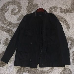 Black utility jacket with clinch waist